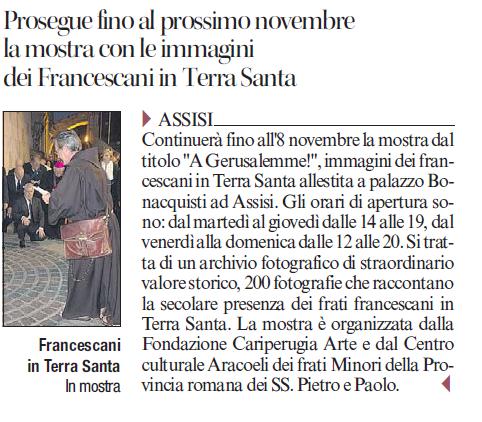 Francescani in Terra Santa, le foto in mostra fino a novembre