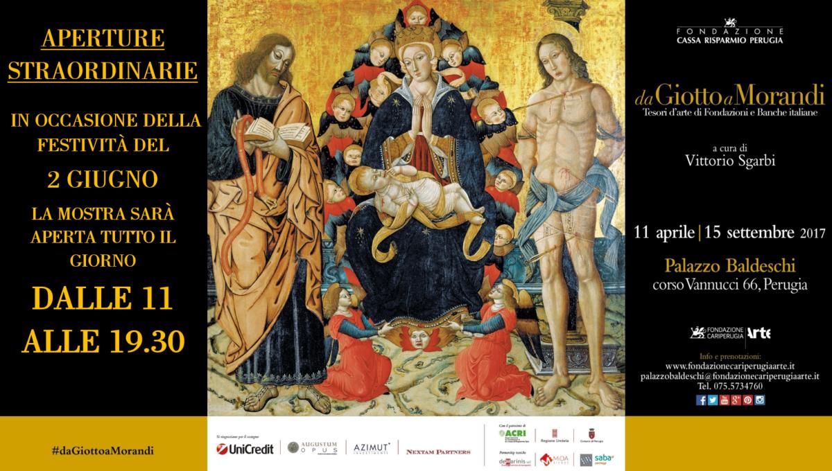 Da Giotto a Morandi, il 2 giugno apertura straordinaria